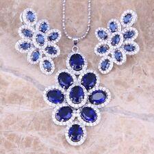 Blue Sapphire White Topaz Silver Jewelry Sets Earrings Pendant S0814