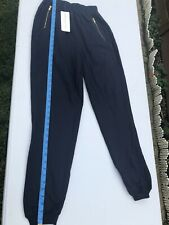 VTG Vittadini Sport Blue Cotton Pants W Gold Zipper Pockets NWT Women's Sz M