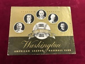 1951 Washington Senators Souvenir Program Golden Anniversary  *PL1
