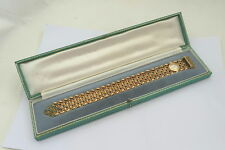 RARE CASED WIDE 9ct GOLD & EMERALD BRACELET with WATCH 49.30 g