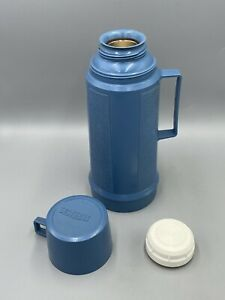 Vintage Thermos Light Blue Glass Lined 100F Filler With Stopper Cup Cap Canadian