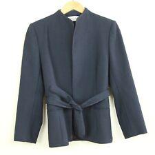 Vintage Diane Von Furstenberg Navy Blue Jacket Blazer Belted 6 S M Minimal