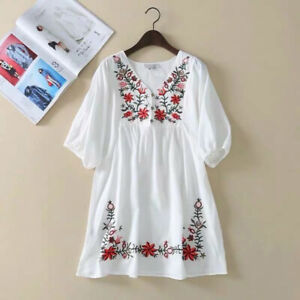 Women Embroidered Hippie Blouse Mexican Peasant Ethnic Gypsy Boho Mini Dress Hot
