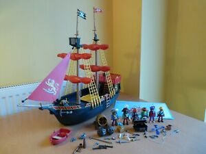 Complete Large Impressive Blackbeards Pirate Ship Playmobil Set 5736 4424 Extras