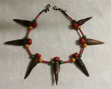 """Cooper Hook Clasp Multi-Colored Stained Wood Round & Spike Bead 17"""" Necklace"""