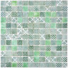 Mosaïque carreau rétro ECO recyclé VERRE vert patchwork 145-P-60_f | 10 plaques