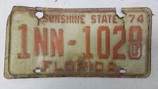 1974 FLORIDA Sunshine State Dade County Rental Trailer License Plate 1NN-1028