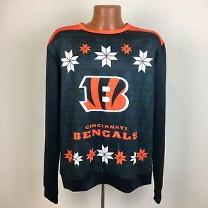 NFL Team Apparel Mens Ugly Christmas Sweater Cincinnati Bengals LARGE Licensed