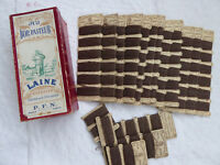 "ORIGINAL FRENCH BOX ""AU BON PASTEUR"" + 12 PAPER CARDS CASHMERE MENDING THREADS"