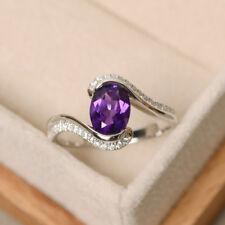 1.33 Ct Oval Amethyst Sim Diamond Engagement Promise Ring 14K White Gold Over