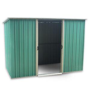 6 X 4FT Metal Garden Shed, Pent Roof Sliding Door Storage House