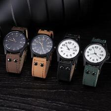 Classic Men Waterproof Casual Faux Leather Strap Sport Quartz Army Wrist Watch#