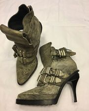 Runway ALEXANDER WANG grey leather high heel ankle boots 37 UK 4