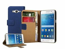 Wallet BLUE Leather Flip Case Cover For Samsung Galaxy Grand Prime SM-G530F