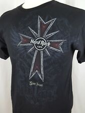 Hard Rock Cafe San Juan Two Sided T Shirt Mens M Black Gothic Puerto Rico Cotton
