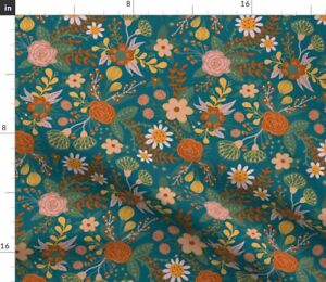 Whimsical Floral Fall Floral Modern Flowers Spoonflower Fabric by the Yard