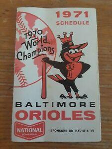 1971 BALTIMORE ORIOLES Pocket Schedule - National Bohemian beer MLB Baseball