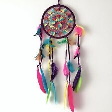 NEW RAINBOW CROCHET DREAM CATCHER NATIVE AMERICAN HANGING MOBILE REF 170