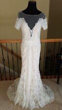 NEW! $3140 Watters Mila 7014B Ivory Bare Lace Sheer Back Wedding Dress Size 8