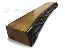 Solid Oak Beam Floating Shelf Wooden Mantle Piece 1 SIDE WANEY NATURAL BARK EDGE