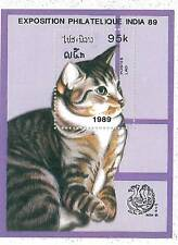 STAMPS: LAOS 1989 CATS -  YVERT BF #102A