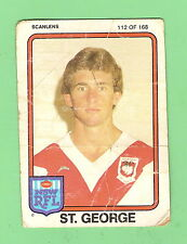 1981  ST GEORGE DRAGONS  SCANLENS  RUGBY LEAGUE CARD #112 BRIAN JOHNSTON
