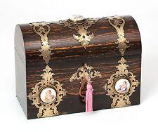 An Antique Victorian Coromandel Wood Dome Top Box Brass & Porcelain Fittings