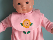 Smiling Sun Flower Pink Footed Romper + Bib fits Bitty Baby & Bitty Baby Twin