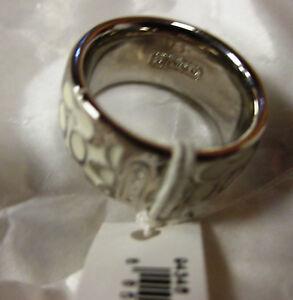 NWT Coach Miranda Enamel Ring - White Sliver size 6 (retail $68) 94346