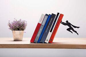 ARTORI Design Book & Hero Supergal Bookend Book End Stopper Holder Black Metal