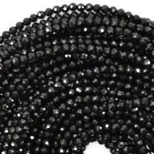 """Faceted Black Spinel Round Beads Gemstone 15.5"""" Strand 2mm 3mm 4mm 6mm 8mm 10mm"""