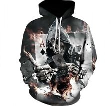 Men Skull Poker Hoodies Sweatshirts Fashion 3D Funny Rock Outwear Jackets New