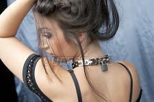 "15"" Flexible High Quality Bondage Slave Day Collar with Locking Black Padlock"