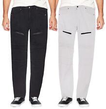 Lr Scoop masculinas casuais de stretch Calças Jeans Moto Quilt Zíper Moda Jeans sólido