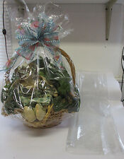 "24""x30"" DOME SHRINK WRAP GIFT BASKET BAGS- SEAMLESS - CLEAR - 6 PACK- 100 GAUGE"