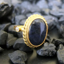 Handmade Hammered Oval Sodalite Ring With Topaz 22K Gold Over Sterling Silver