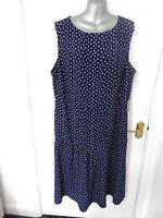 TU WOMAN Size 22 Navy Blue White Shift Plinth Dress NEW Plus Back Zip