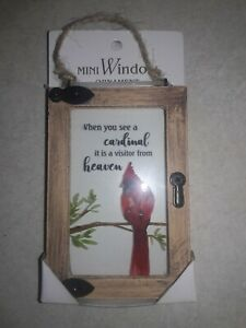 Ganz MINI WINDOW Ornament CARDINAL VISITOR FROM HEAVEN Year Round Rustic Charm