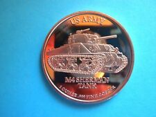 US ARMY M4 SHERMAN TANK 1OZ COPPER ROUND