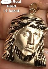 """0.95"""" 3g 14k REAL Gold Jesus Christ face head Pendant Charm Yellow Necklace"""
