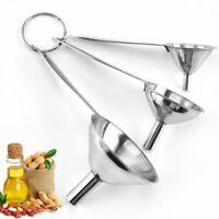 3 In 1 Portable Stainless Steel Mini Metal Funnel Set Kitchen Home Accessories