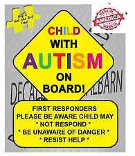 Child (rainbow color) With Autism (rainbow color) On Board FIRST RESPONDERS