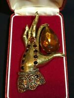 Gorgeous CRYSTAL Vintage Style Gold Tone FORTUNE TELLER Brooch / Pendant