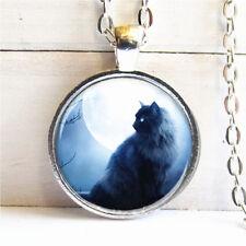 Vintage Black Cat Cabochon Tibetan silver Glass Chain Pendant Necklace G01