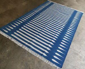 6'x9' Handwoven Flat Weave Indigo Blue & White Striped Cotton Dhurrie Area KIlim