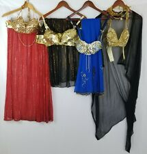 Vintage Lot Egyptian Belly Dance Costume Bras Skirts Veils Professional Dancing