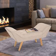Homcom Chaise Lounge Ottoman Deluxe Arm Linen Fabric - Cream