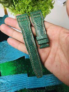 22mm/18mm GENUINE Green OSTRICH Leg LEATHER Skin WATCH STRAP BAND # K14
