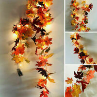 2M Halloween LED Light Autumn Fall Maple Leaves Garland Hanging Plant Home Decor