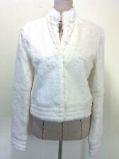 bcbg max azria follow the white rabbit fur jacket coat crop long sleeve size M